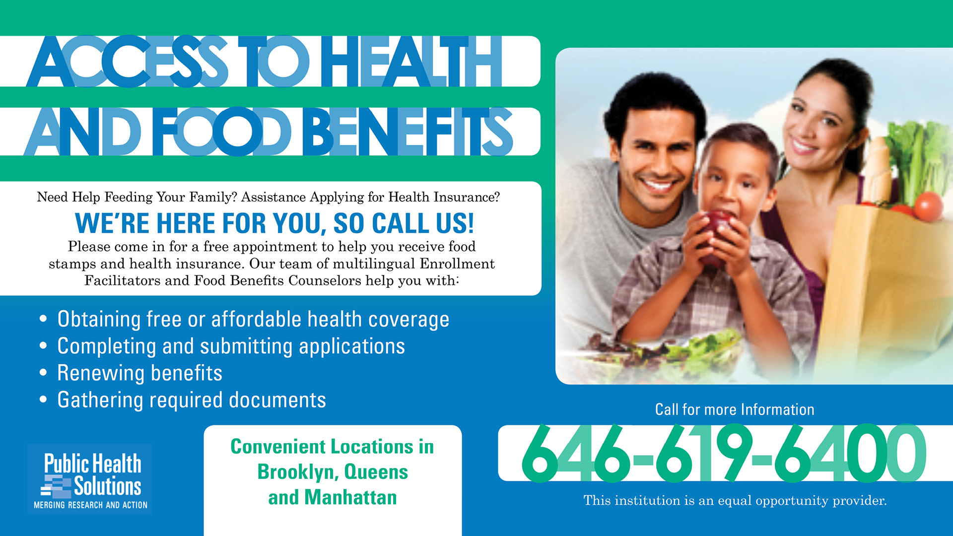 Access to Food and Health Benefits banner