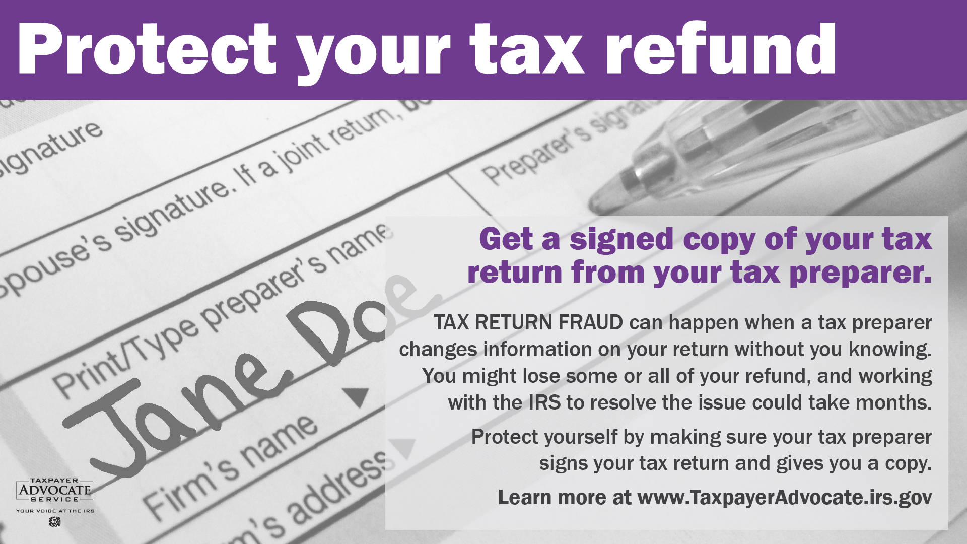 Tax Return Fraud banner