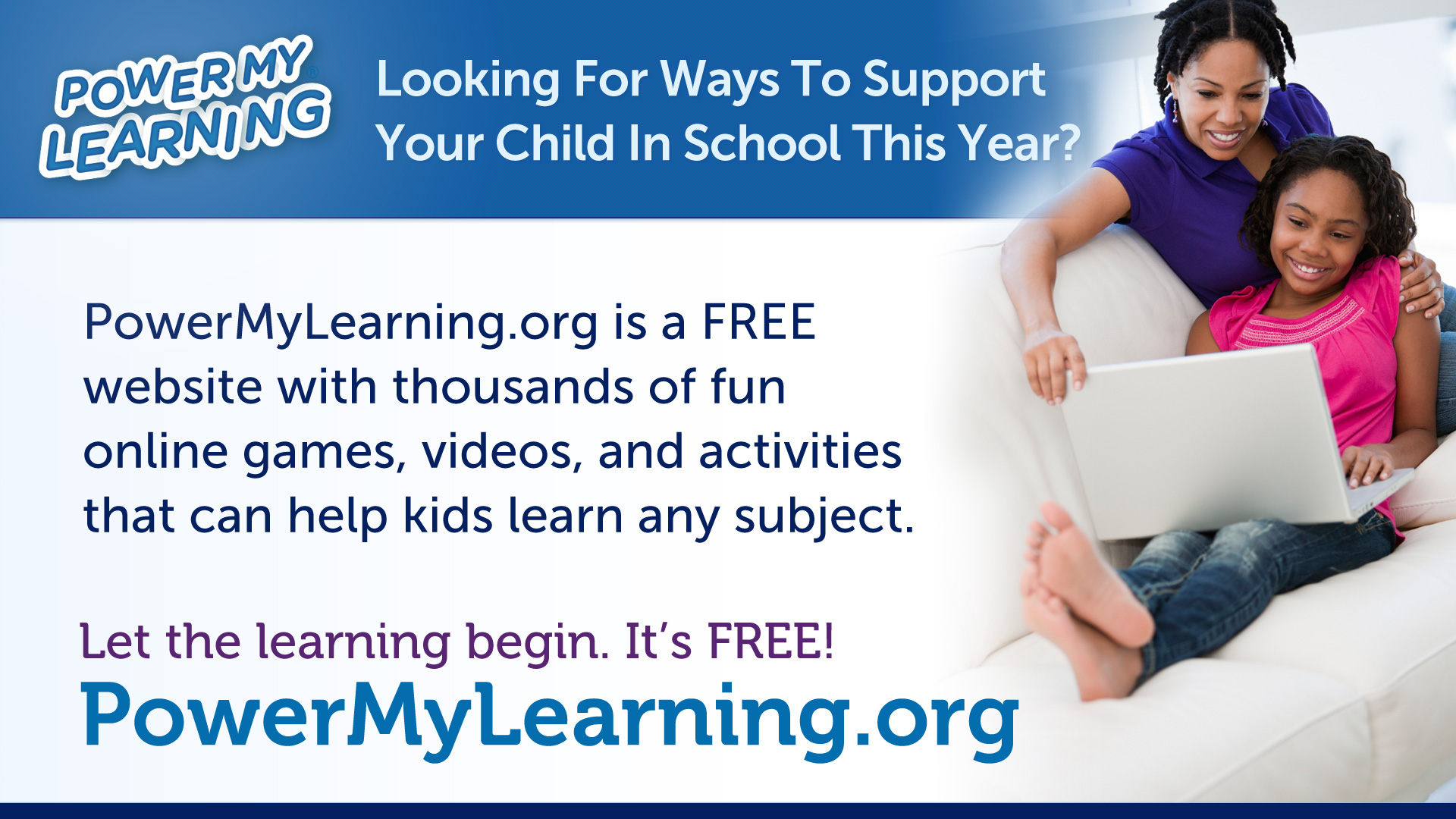 Power My Learning banner