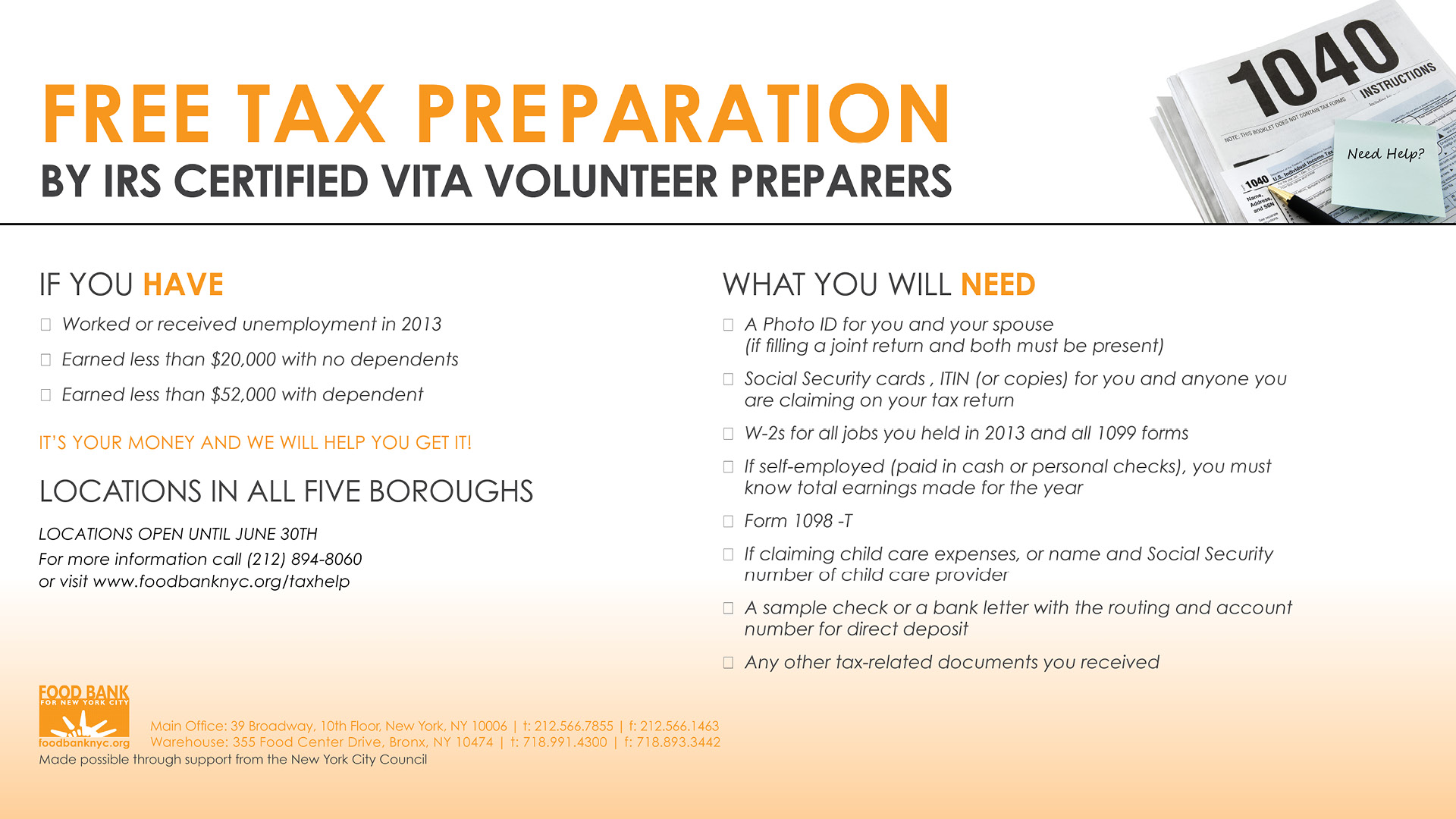 Free Tax Prep Assistance banner