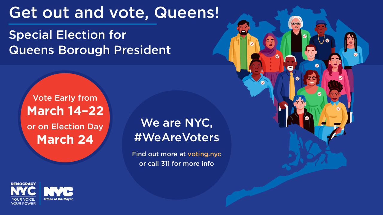 Get out and vote, Queens! banner